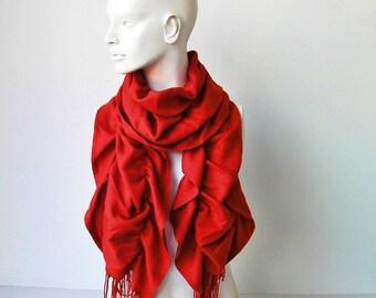 Ruffle scarf,scarf,long scarf,winter scarf,tassel scarf  ,Pashmina fabric scarf in Vermilion
