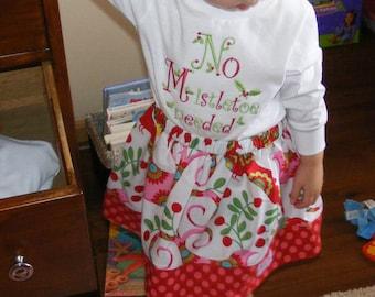 Pretty Bird Christmas Skirt (12 mos, 18mos, 24 mos, 2T, 3T, 4T, 5, 6,7)