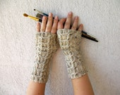 Beige Hand-knitted Cabled Fingerless Gloves/ Wrist Warmers. Winter Accessories.