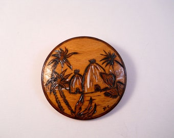 Round Wood Island Brooch Palm Trees Huts Pin Brown burned on wood