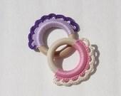 TWO Teething Rings - Organic Wood Teething Rings -choose your colors