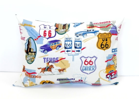 12x16 Lumbar Pillow Cover - Map of Route 66 - Travel USA