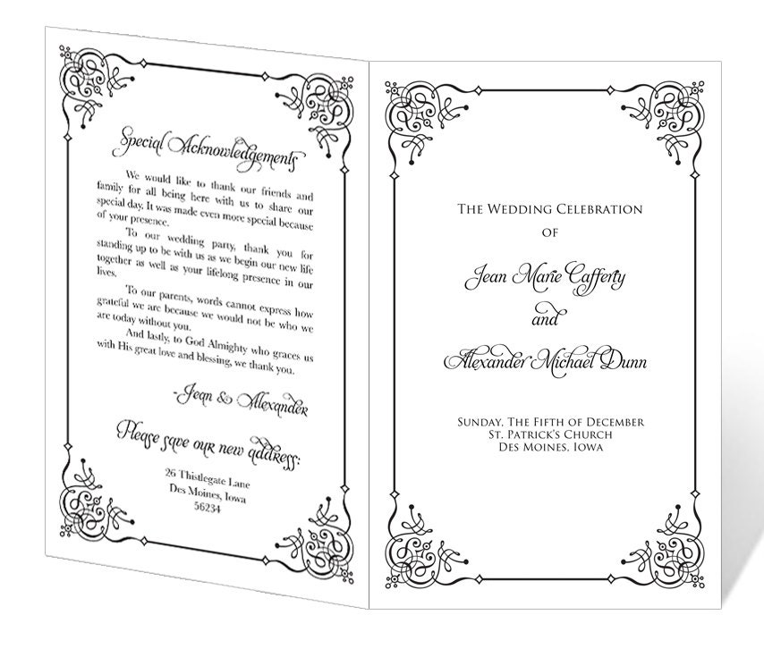 Free Printable Wedding Program Templates: INSTANT DOWNLOAD Wedding Program Template Flourish By 43Lucy