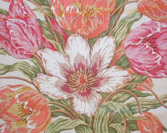 Designer Fabric, Premium Linen, Pillow Fabric, High-End Design HouseRemnant of Glorious Tulips