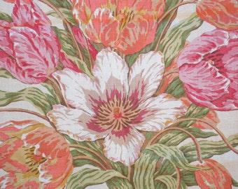 Designer Fabric, Premium Linen, Pillow Fabric, Flowers, Spring, Summer