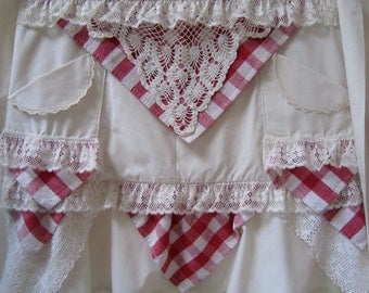 SALE! Red and White Checked Prairie Style Apron