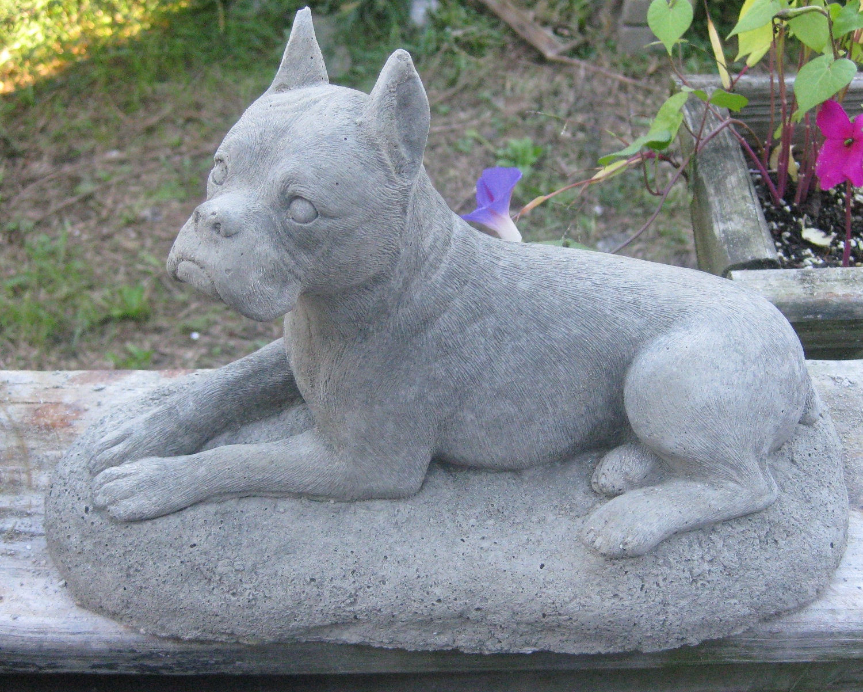Concrete Medium Boxer Dog Garden Statue Memorial