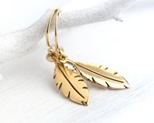 Gold Feather Dangle Earrings / Small Bronze Feathers on Gold Filled Ear Wires / Jewelry by burnish