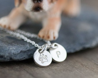 Personalized Dog Lovers Necklace / Pet Paw Print Monogram Initial Hand Stamped Jewelry / Pet Owner Gift Idea