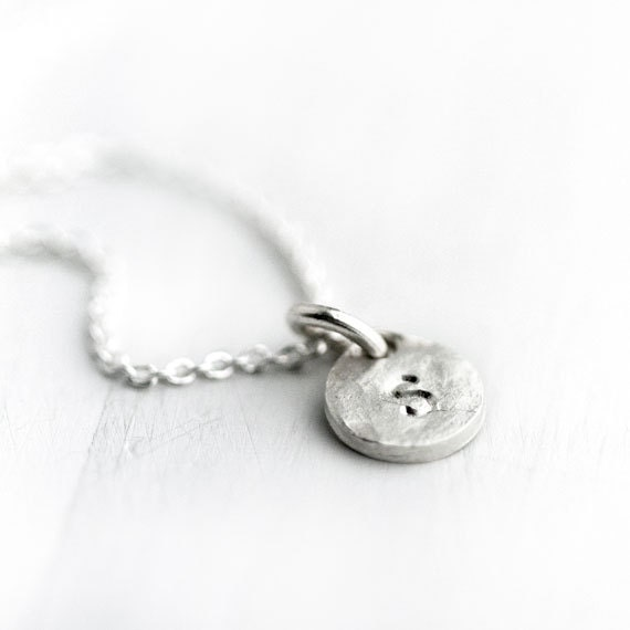 Silver Monogram Necklace / One Hand Stamped Initial Coin Disc Charm / Personalized Jewelry / Sterling Silver
