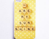 iPhone Case: You Are My Sunshine. Retro Scrabble Print. White Case. Sunny Yellow. Polka Dots. iPhone 4/4S Case. iPhone 5 Case. READY-TO-Ship