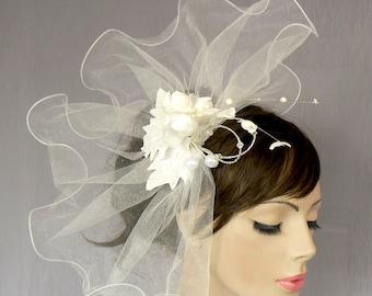 Bridal Veil Blusher, Ruffled Tulle Wedding Fascinator Unusual Veil Alternative Wedding Off White, Handmade, Unique Design