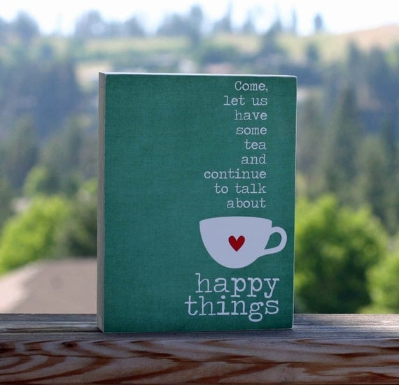 Tea and Happy Things Print - Friendship Tea Cup Peacock Teal Green - 6x8 Cradled Birch Framed Art