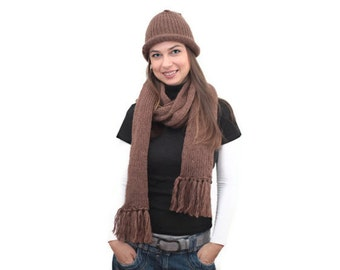 Knit Set of Wool Scarf and Hat, Brown Extra Long Winter Scarf by Solandia, women men Unisex, Winter Fashion