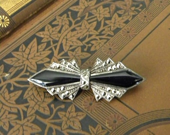 Vintage Brooch , Sterling Silver, French Jet And Marcasites