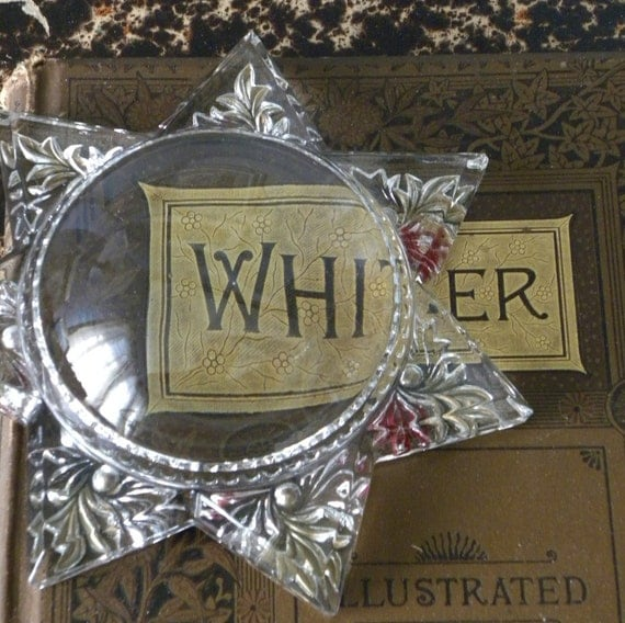 Magnifying Star Glass Antique Paperweight   Circa 1890-1900