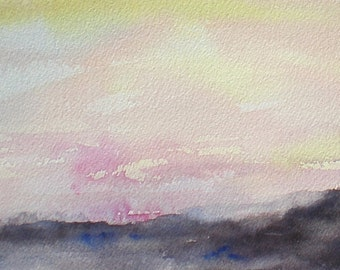 "Sunset, sunrise, beach, coast, ocean, pink, yellow, purple.SALE. Sunset 2. Original watercolor painting (7"" x7"")"