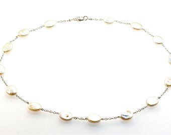 Dainty Flat Oval Freshwater Pearl Necklace