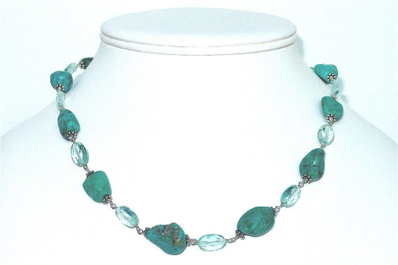 Turquoise Nuggets and Faceted Aqua Crystal Necklace