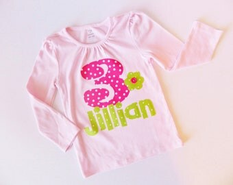 Baby, girl, tween  shirt with hot pink and lime green dot personalized birthday number and name applique sizes NB  - 16