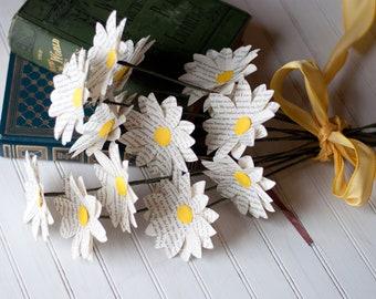 One Dozen Paper Book Page Daisies