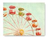 Ferris Wheel photo, bright, carnival photo, art print, colorful, fun,  town fair, midway, honeysuckle, green, orange, yellow, teal, mint
