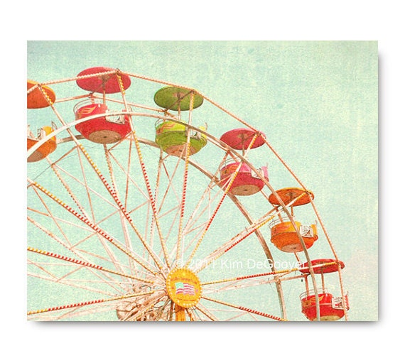 Ferris Wheel photo, bright, carnival photo, art print, colorful, fun,  town fair, midway, honeysuckle, green, orange, yellow, teal, mint