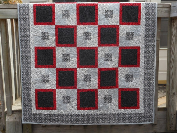 Geometric Patchwork Quilt Quilted Blanket Red Black Gray : patchwork quilt blanket - Adamdwight.com