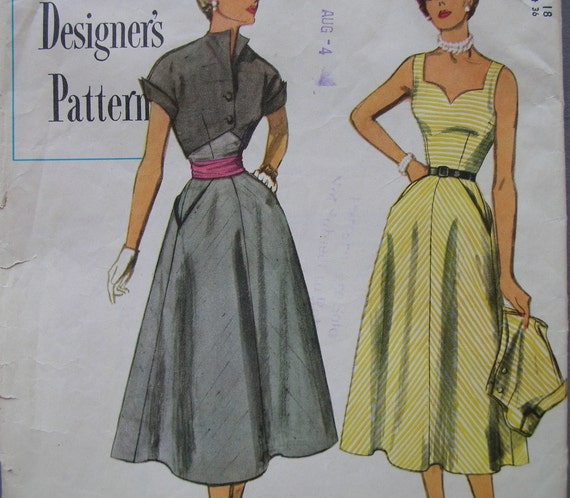 Fabulous Vintage 50's Simplicity Designer's Pattern SUN DRESS and BOLERO