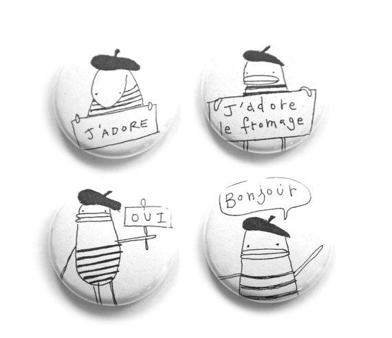 Cute Fridge Magnets, Adorable Gift Idea, Set of Four - Bonjour, Oui, Fromage, J'Adore, Little French Poosac