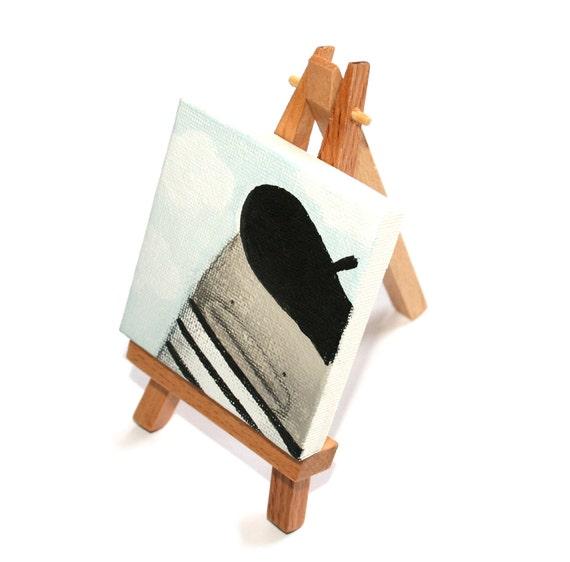 Original Miniature Painting, Miniature Art, Original Art, Acrylic Painting, Miniature Canvas and Easel, Paris, French, Poosac