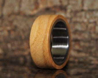 Wood Ring Size 5 1/2 - Olive wood and stainless steel ring