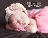 Baby Headband ..  Flower girl headband  ..  Vintage Headband .. Pink headband  .. Photo Prop .. Shabby Chic ..Victorian Lace