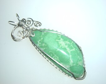 Variscite and Silver Wire Wrapped Pendant