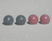 Vintage Red and White or Navy and White Etched Stud Earrings - Your Choice of ONE Pair