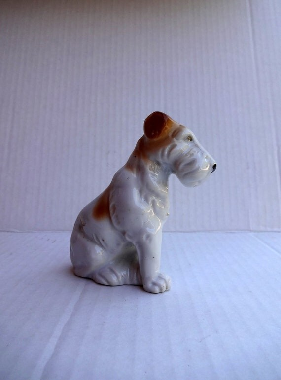 The names Fred - VINTAGE -  Small Dog Figurine - Schnauzer