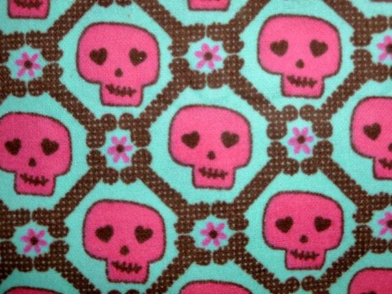 Pink Sugar Skulls Flannel Cotton Fabric 32 inch