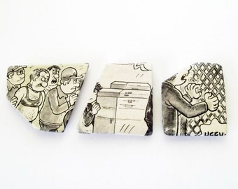Paper magnet set, sale, upcycled newspaper, geometric kitchen decor, office decor, black, white, grey, caricature series