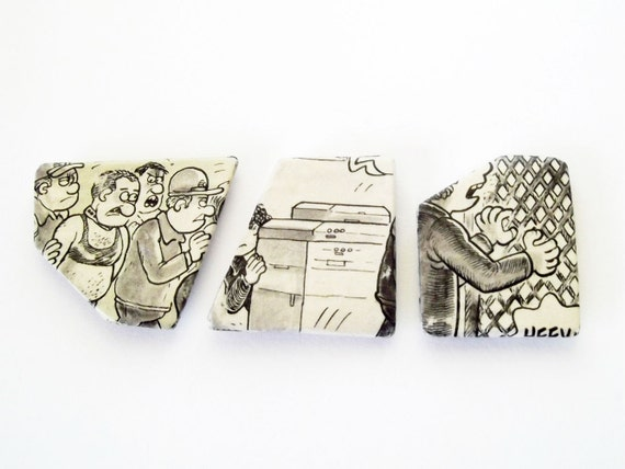 Paper magnet set, upcycled newspaper, geometric kitchen decor, office decor, black, white, grey, caricature series