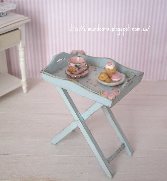 RESERVED shabby chic style tray with accessories  .Scale 1:12