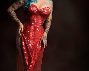Jessica red sequin dress