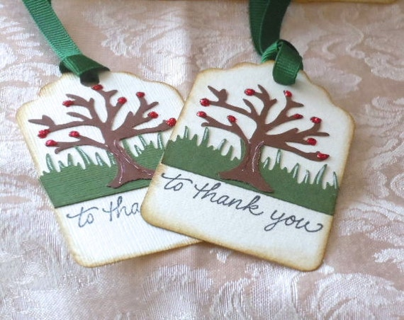 Gift Tags ( set of 6 ) , thank you, tree,  Great for Gifts ,  birthday favors, brown, green, ivory