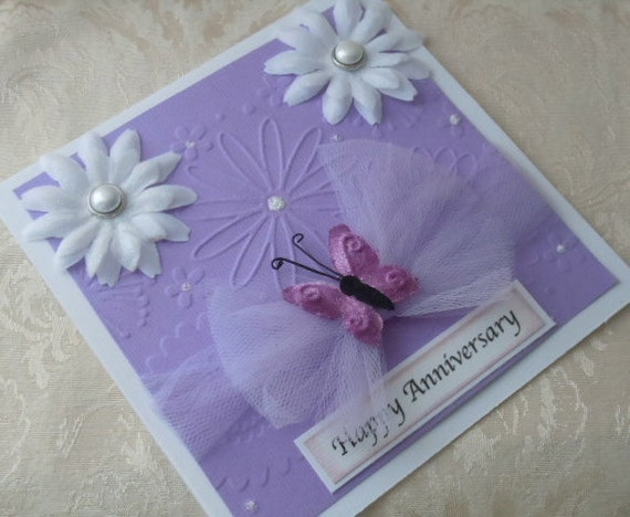 Handmade Anniversary Card with white flowers in lilac & white