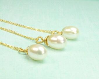 Set of Three Single Pearl Bridesmaid Necklace/Pearl Solitaire Necklace for Bridesmaid/Set of Three Pearl Solitaire Necklace