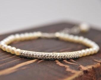 Custom CZ Bar with Pearl Wedding Bracelet, Bridal Bracelet, Bridal Jewelry