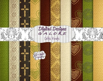 Celtic Knots Digital Paper Pack Set of 10 - Commercial and Personal Use - Digital Designs Galore