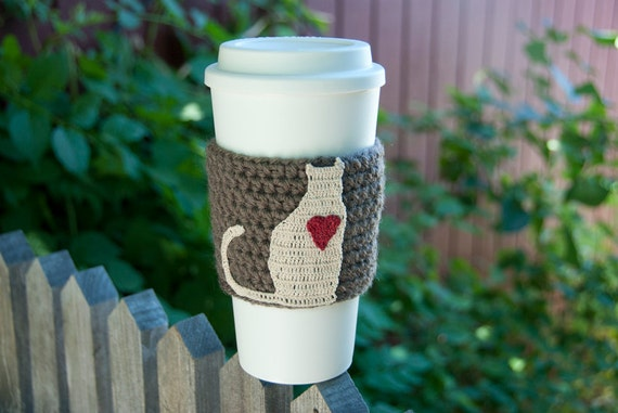 RESERVED FOR VICKI Crochet Coffee Cozy // Kitty Cat // Cream with Red Heart // taupe sleeve
