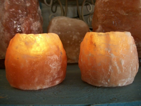 RESERVED Jenna...Two Himalayan Salt Tealight Candle Holders