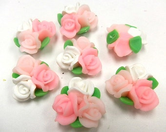 10 Fimo Polymer Clay white pink Flower Fimo Beads Bouquet  25mm