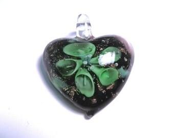 New Large Heart flower Glass Pendant 35mm Green